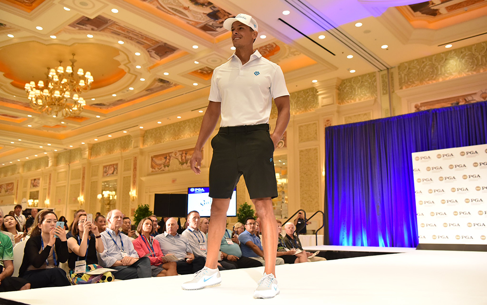 male model on runway at 2019 pga merchandise show