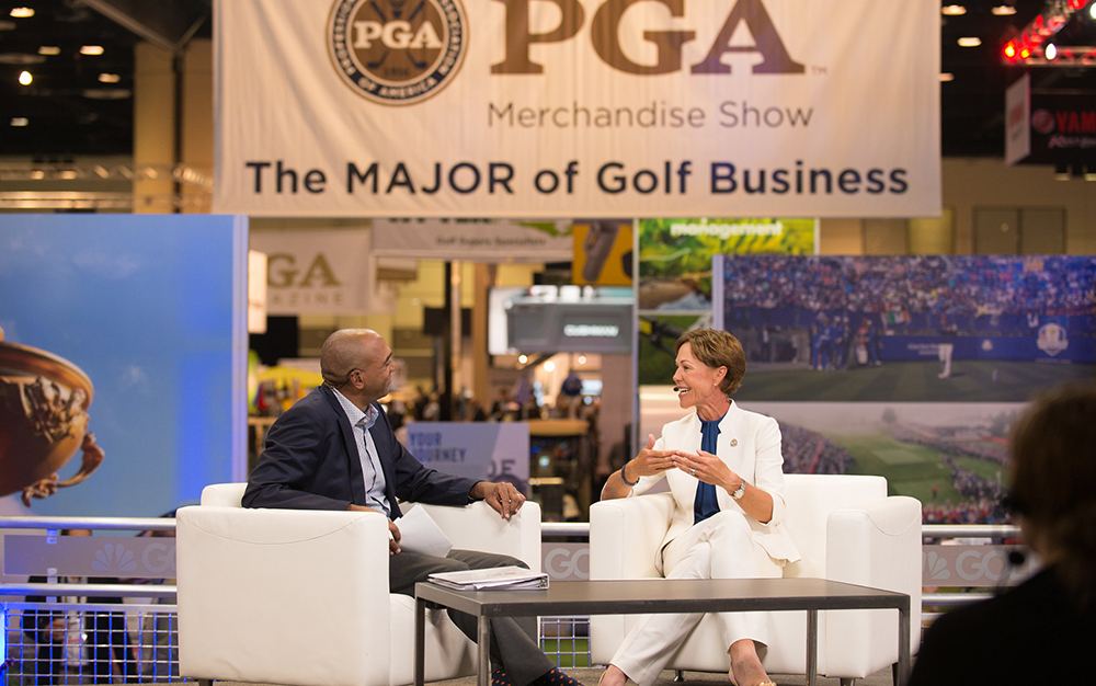 suzy whaley interviewed by golf channel at 2019 pga merchandise show